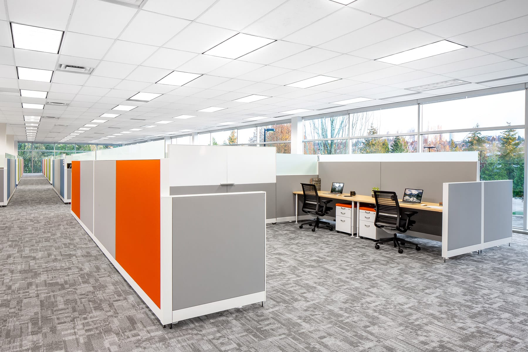 Arista Networks office renovations in Burnaby over two floors, workstations in open space