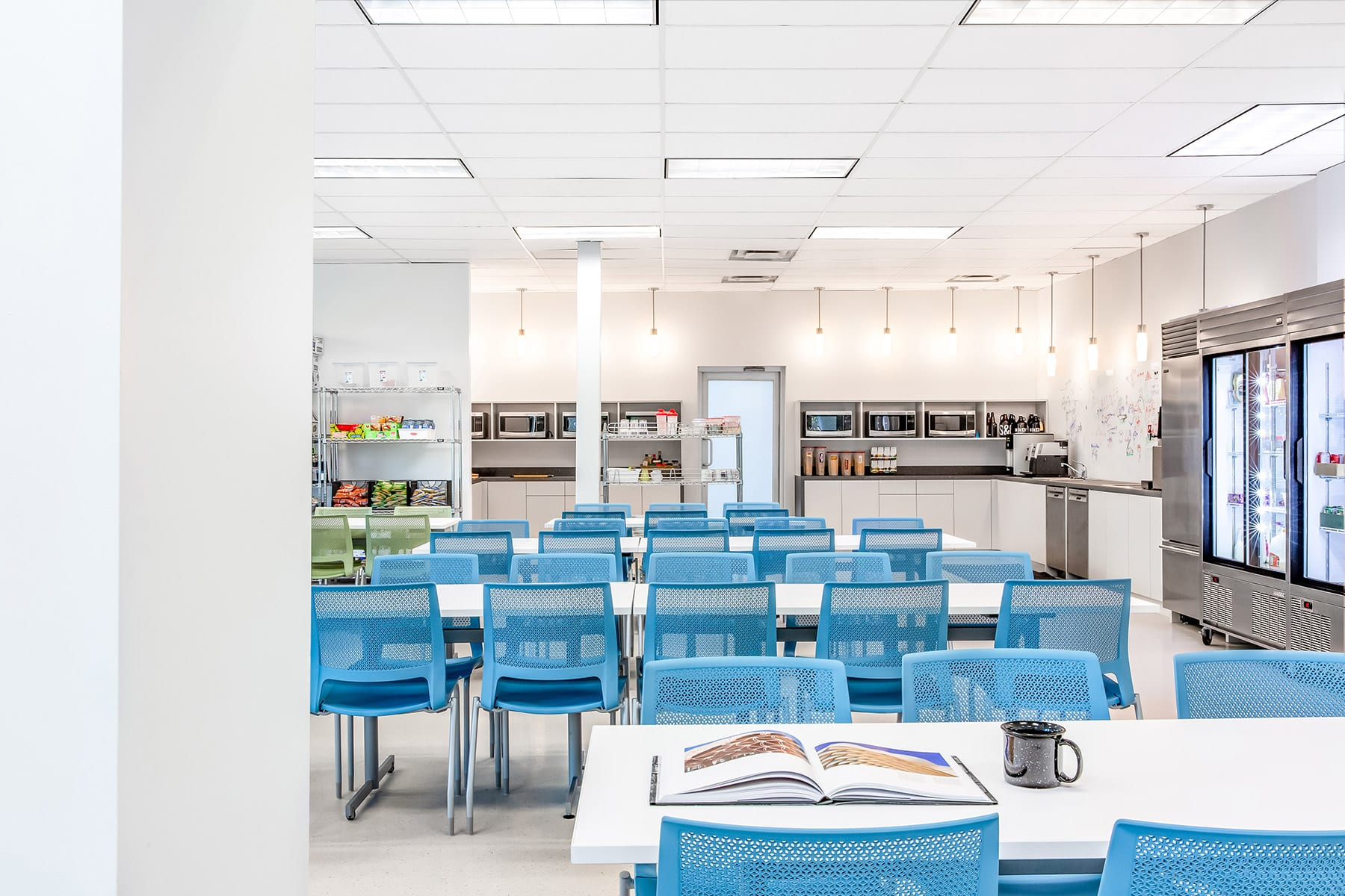 Cafeteria at Arista Networks' renovated office in Glenlyon, Burnaby BC