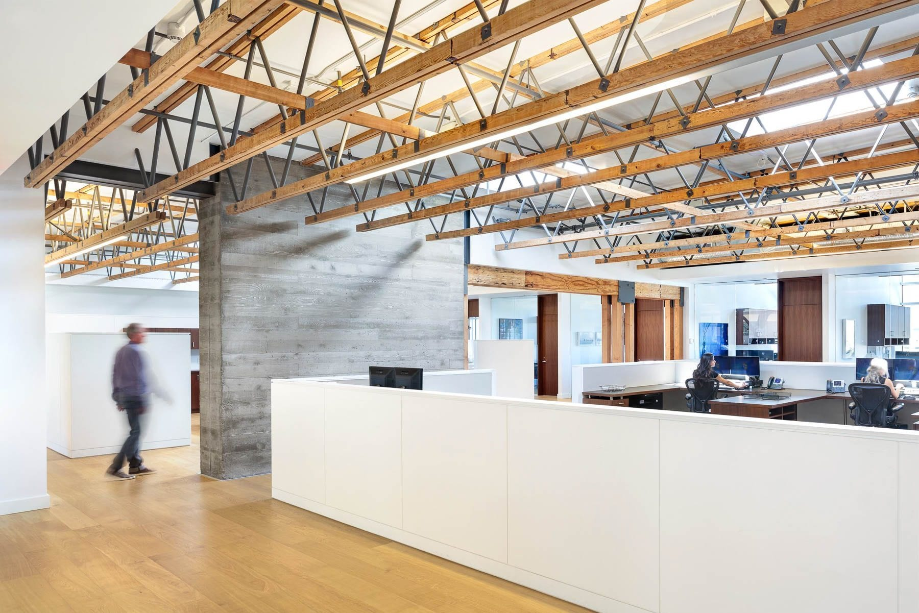 Corporate interior construction for Austeville properties' head office. Heavy timber structure adds unique character.