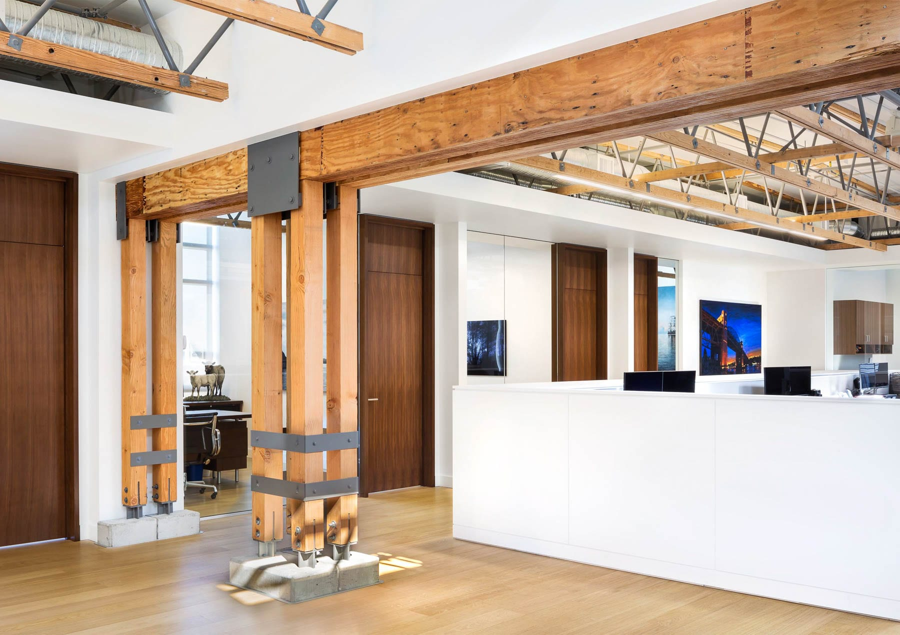 Heavy timber structure adds character to Austeville Properties' corporate office.