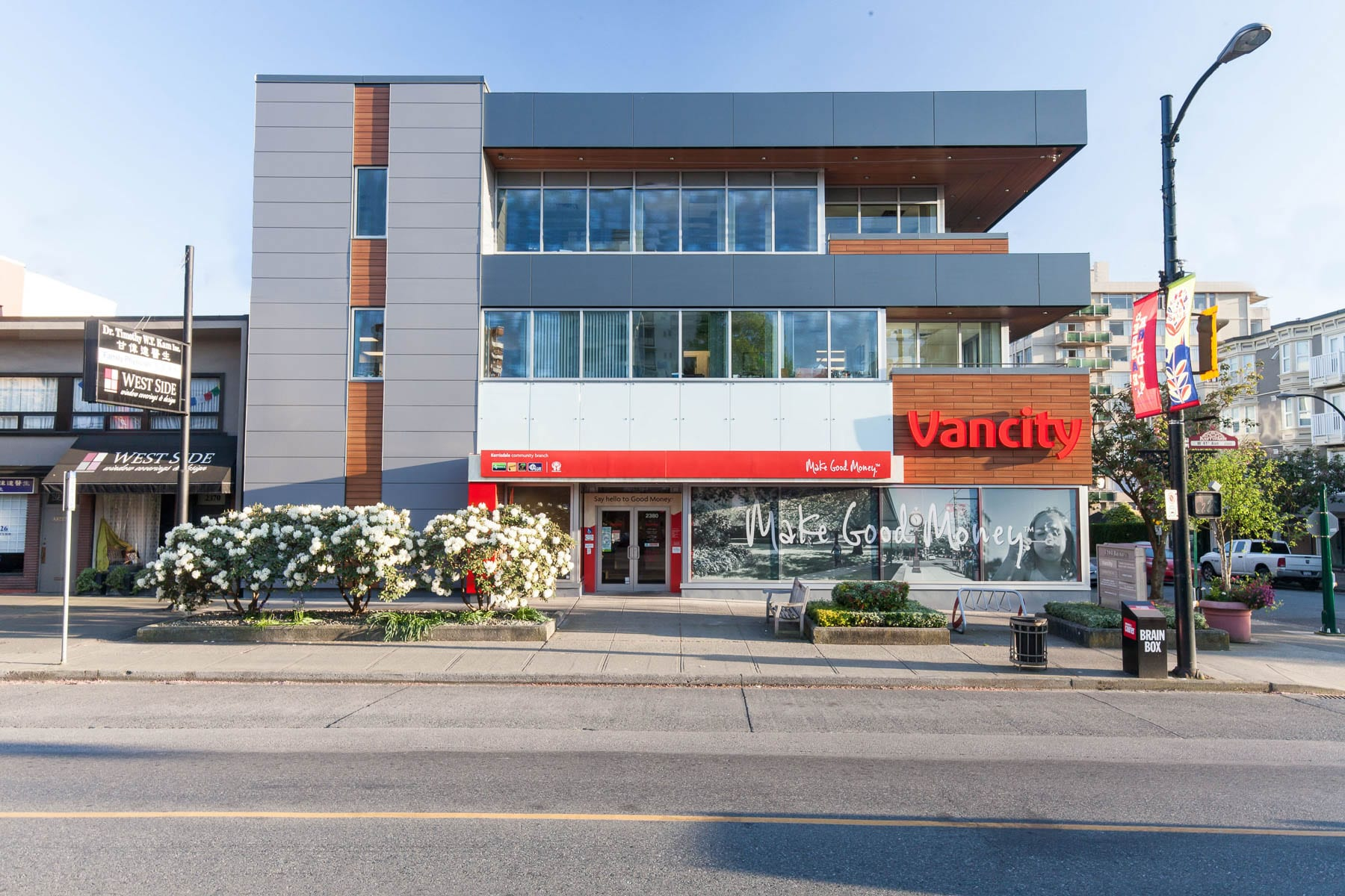 Vancity bank tenant improvement and Balsam building roofing, finishes upgrades