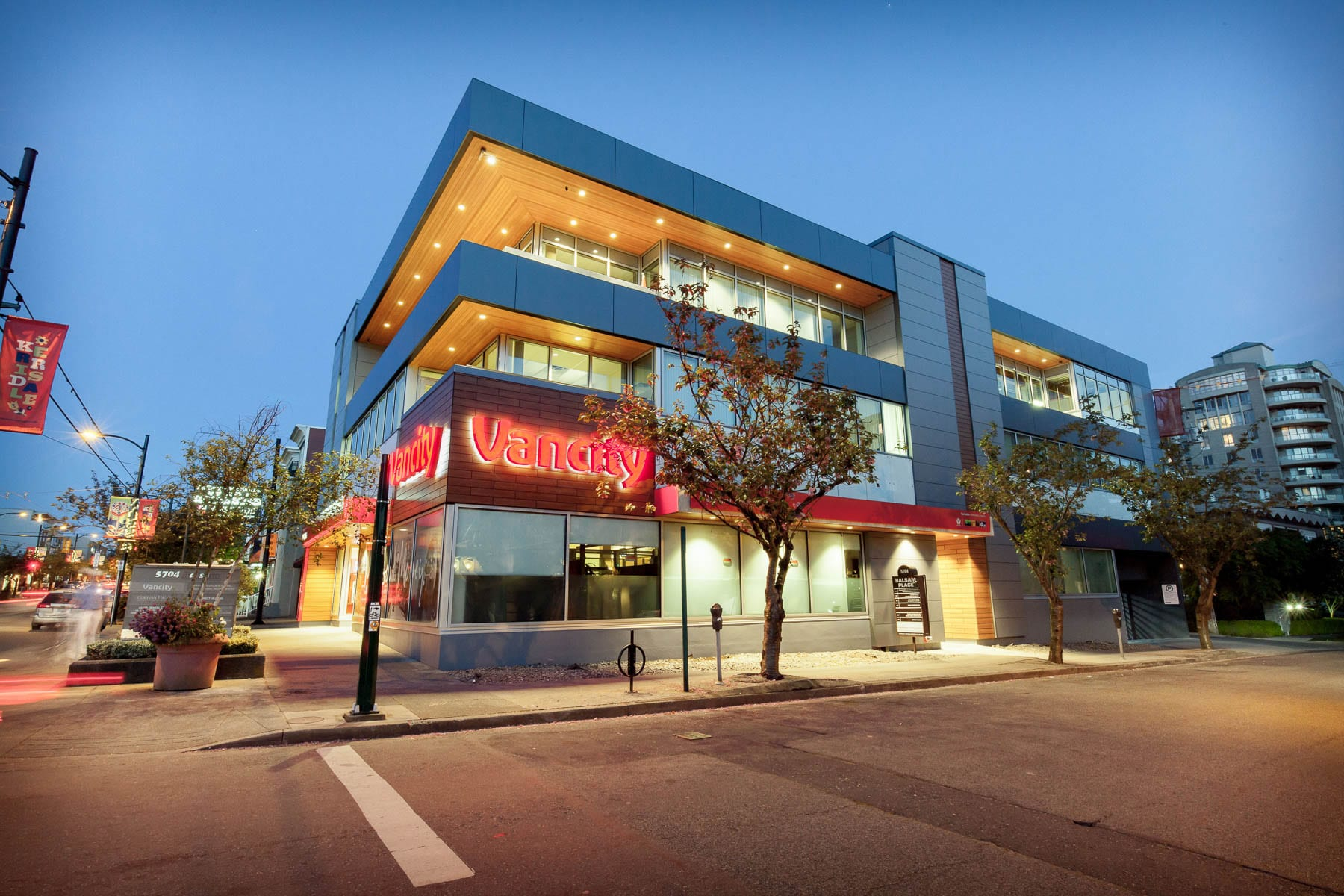 Balsam Street building envelope upgrade including roofing, exterior finishes, glazing and Vancity Bank interior TI