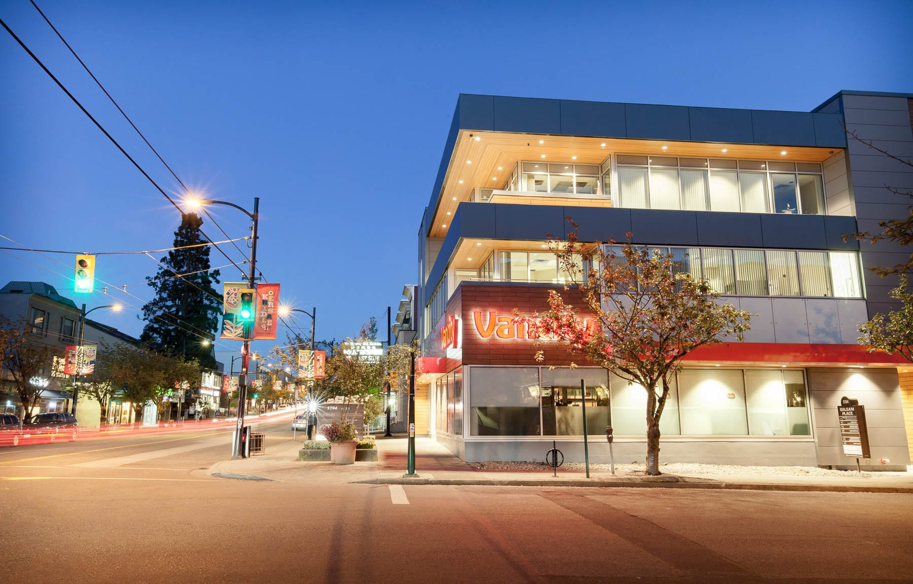 Balsam Street building envelope upgrade and Vancity Bank with Vancouver street lights
