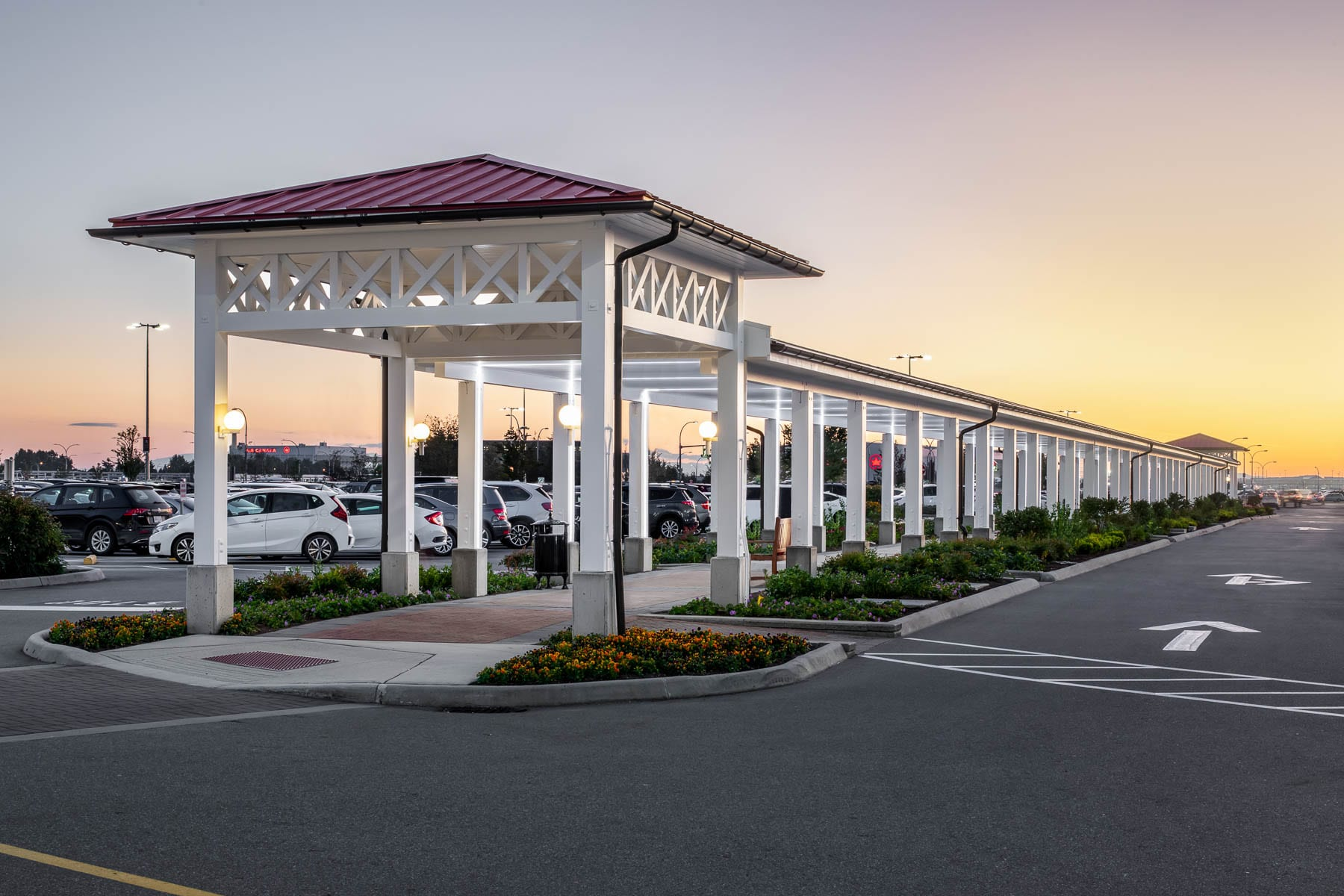 YVR McArthurGlen Designer Outlet's new covered walkway connected to 2 gazebos in parking lot