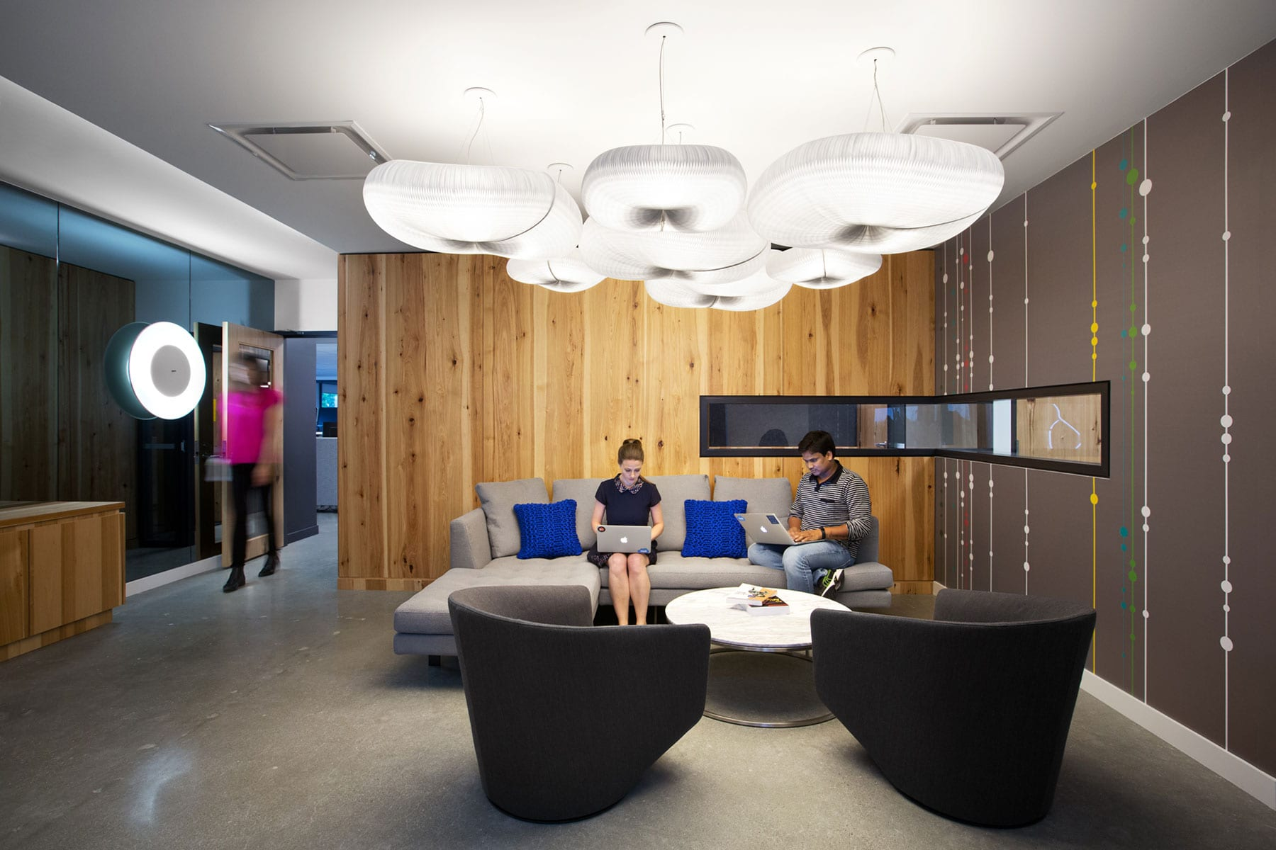 Office fitout for D&B Cloud Innovation Centre - flexible collaborative space for teamwork with cloud lights