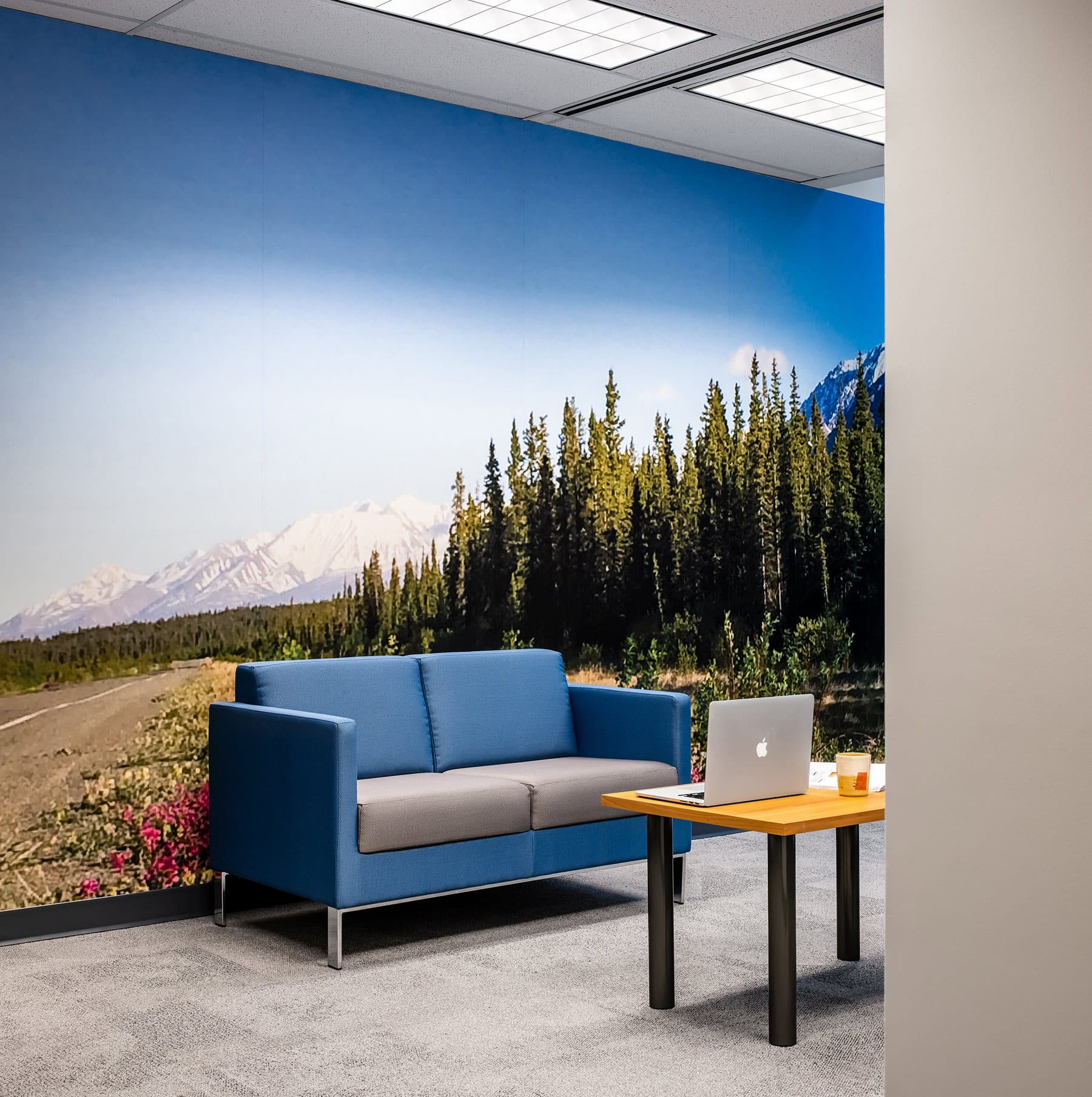Reception are after an office renovation in Vancouver LEED building