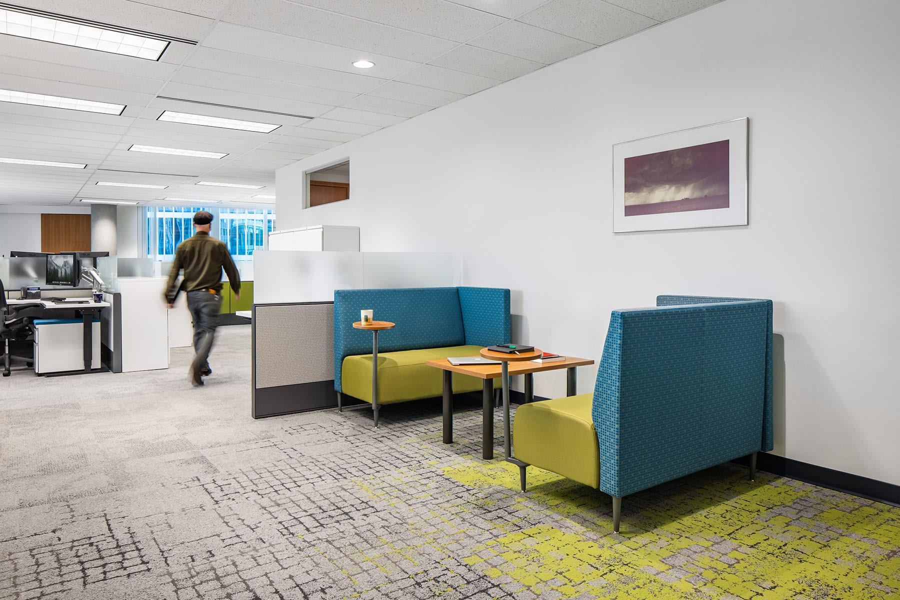 Commercial renovation to Vancouver downtown office with open workstations and collaboration nook