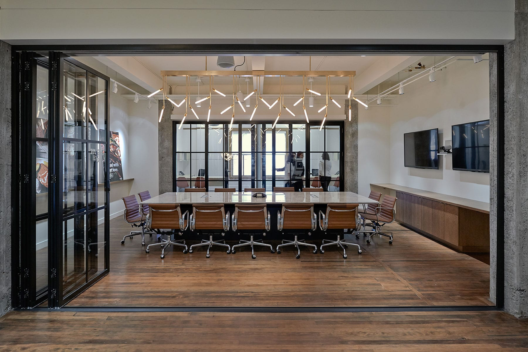 Earls' Large boardroom with operable glass wall partitions
