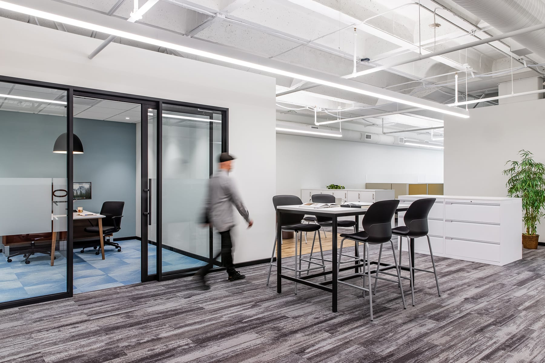Construction Management Services for GHD's office fitout completed with glazing partition, new lighting, carpets and sound masking