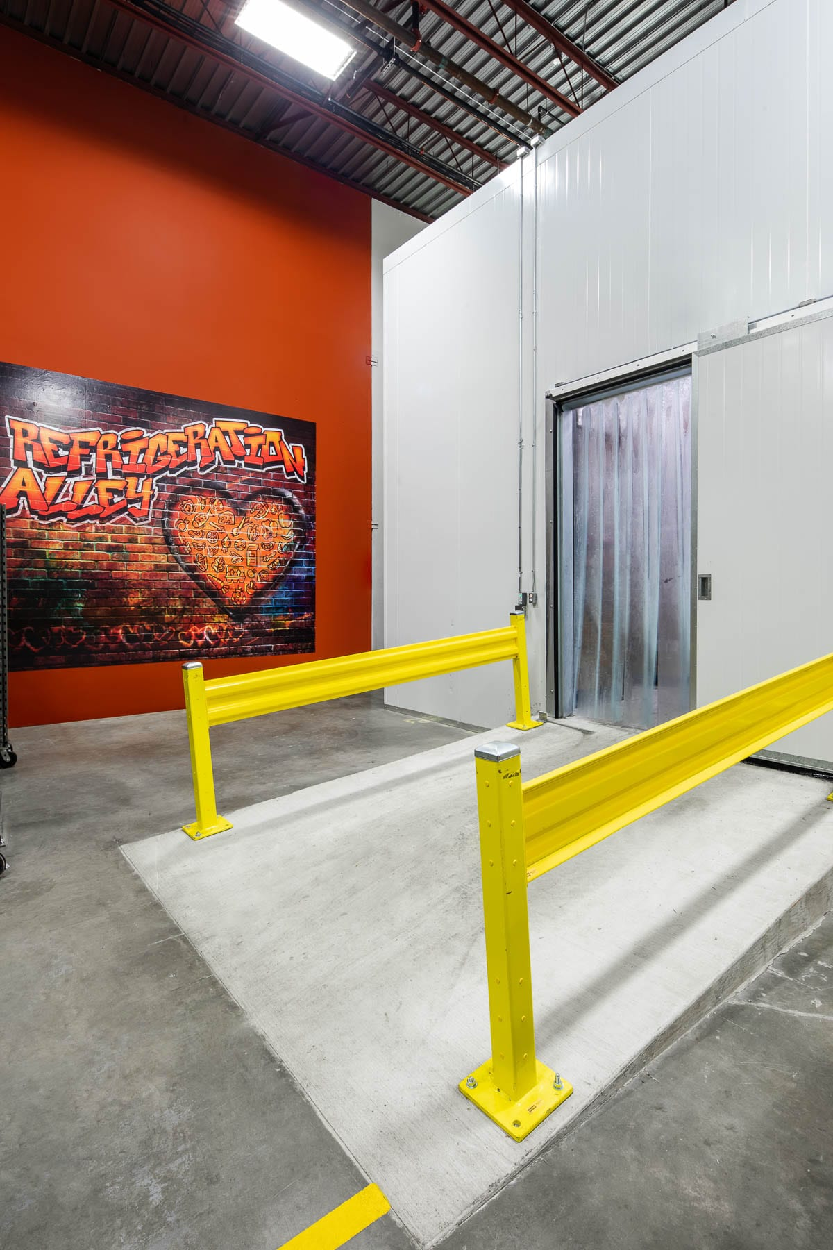 Greater Vancouver Food Bank refrigeration alley in warehouse
