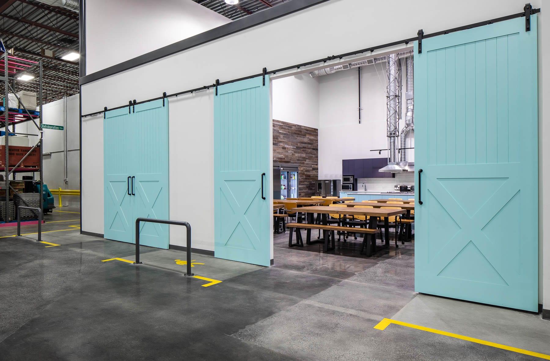 Burnaby Greater Vancouver Food Bank Teaching Kitchen barn doors