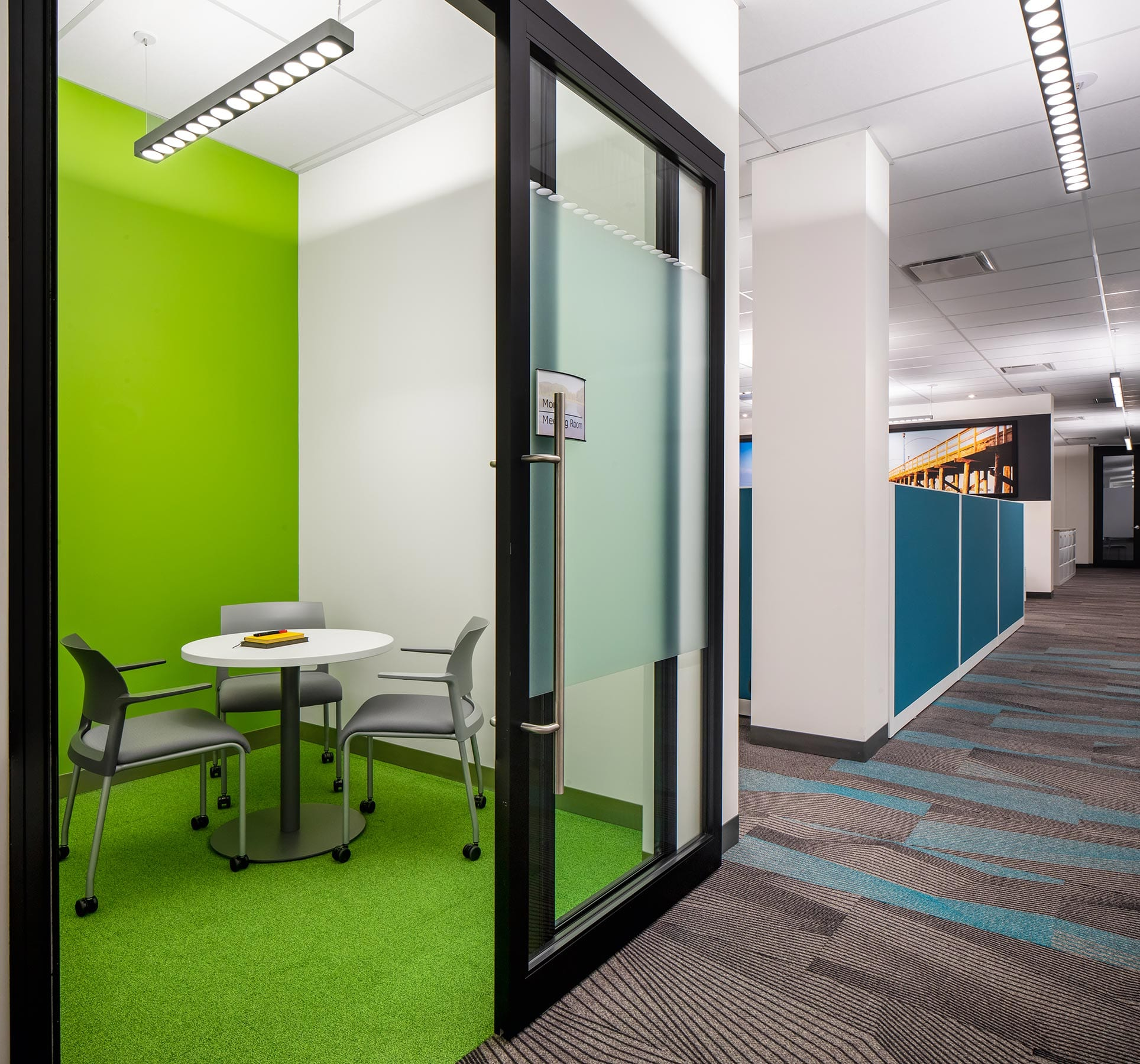 Office interior with new offices, meeting room with partitions and demountable walls