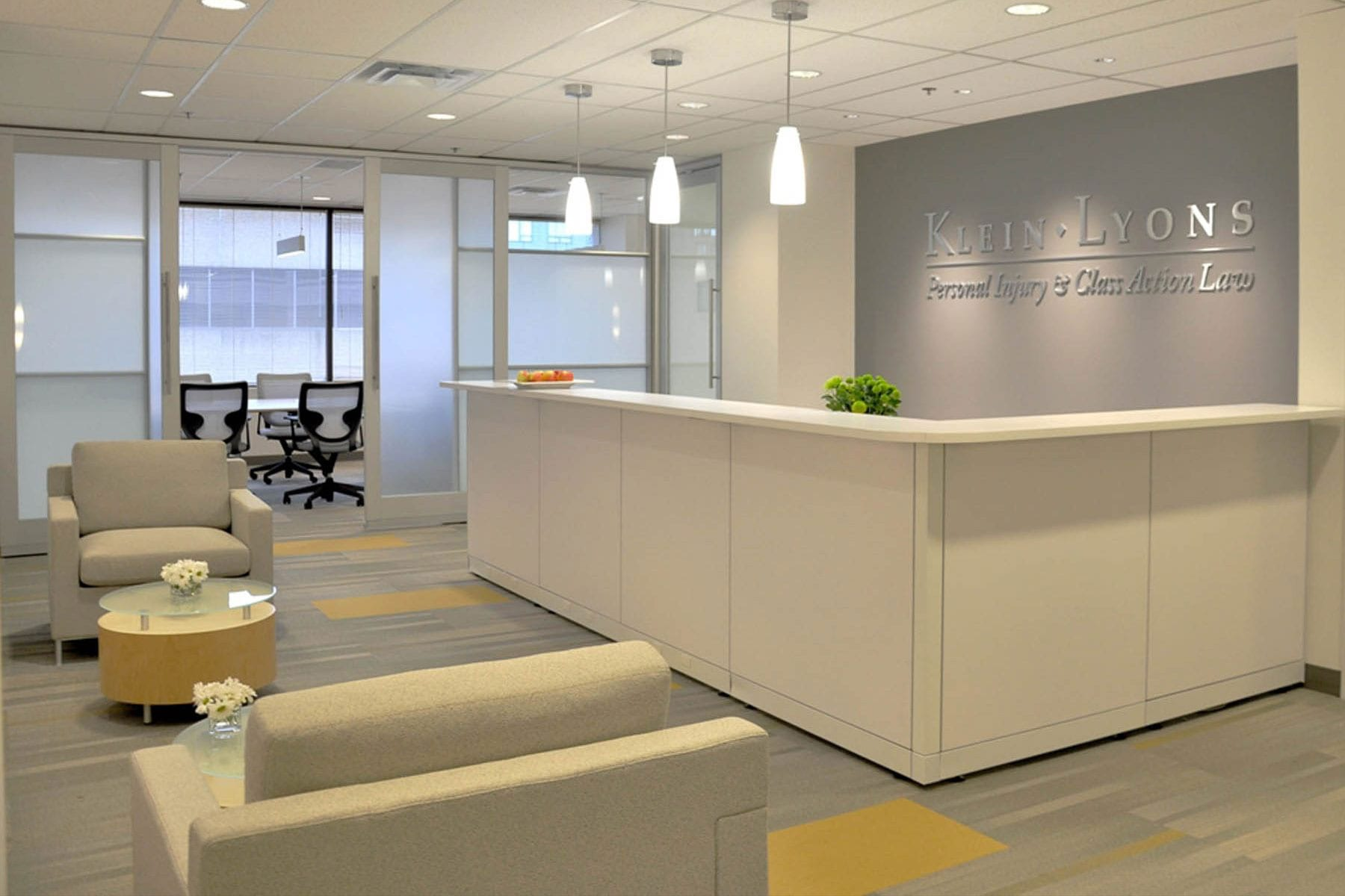 Klein Lyons bright, professional and timeless office and reception