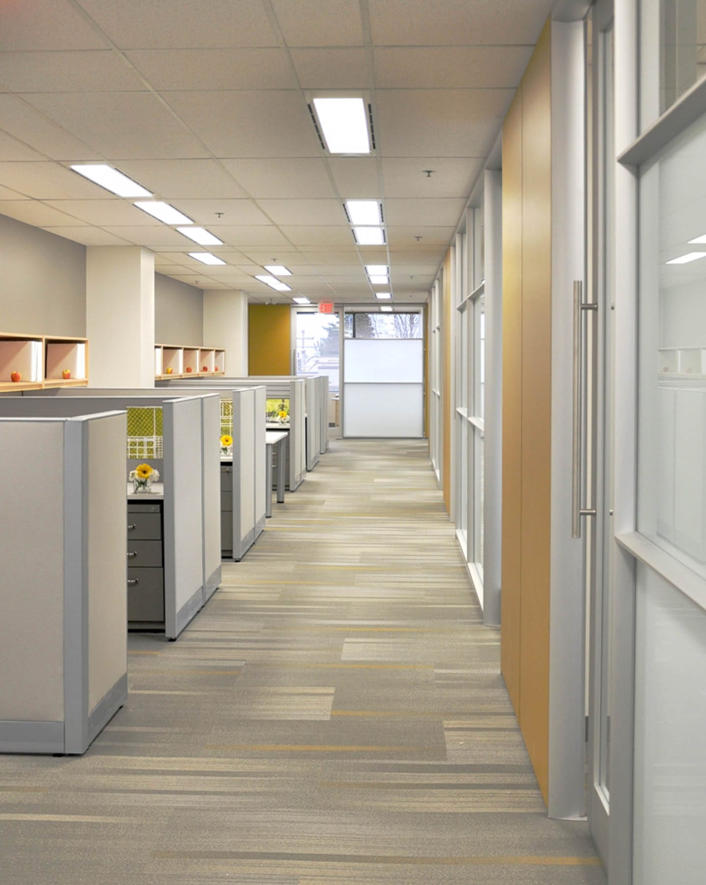 Klein Lyons office corridor with workstations