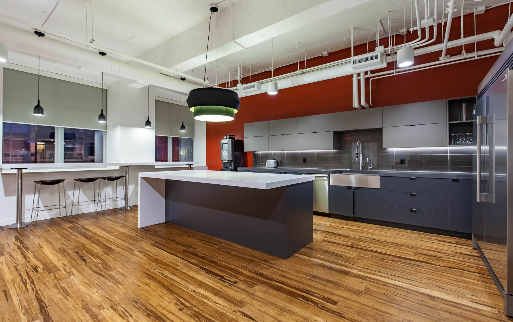 MIABC staff kitchen - modern, contemporary, exposed ceiling