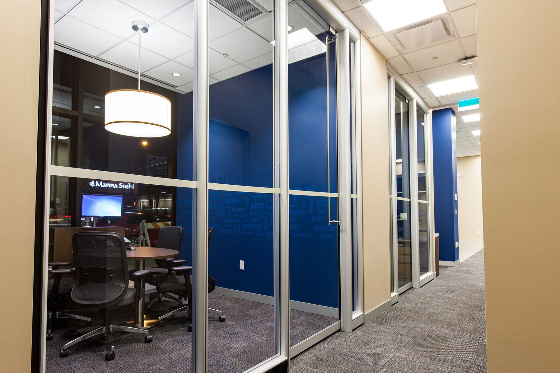 General Contracting for RBC Royal Bank, full fit-out with new finishes, partitions, ceilings and includes private meeting rooms