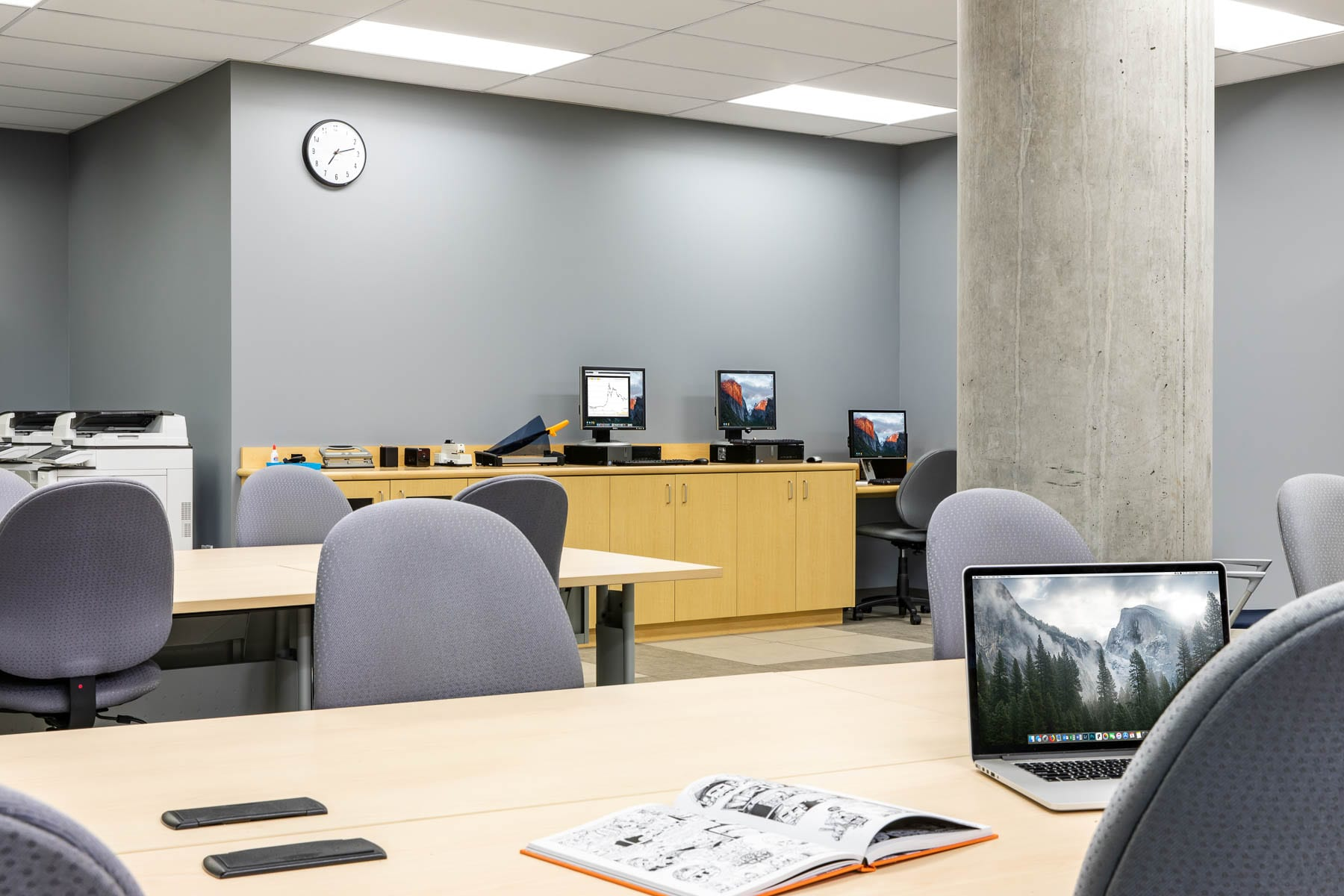 SFU Surrey campus Fraser Library renovation reconfiguring an existing copy and printing room into a flex space.