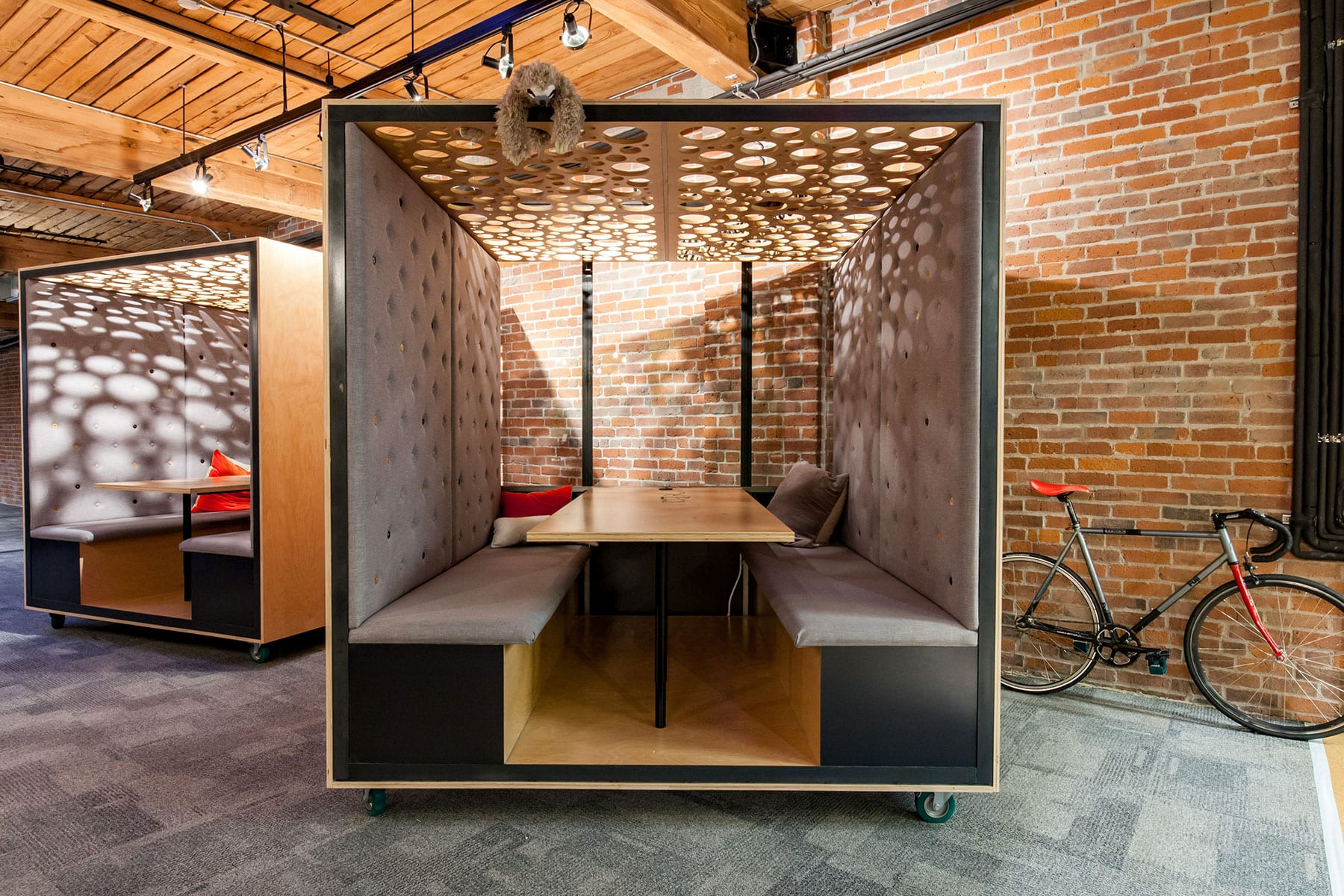 Mobile meeting room in modern office for break out groups, play or privacy work