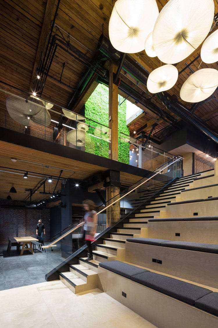 Multi-level headquarter for Slack with atrium seating and stairwell